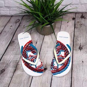 Tory Burch white summer flip flops